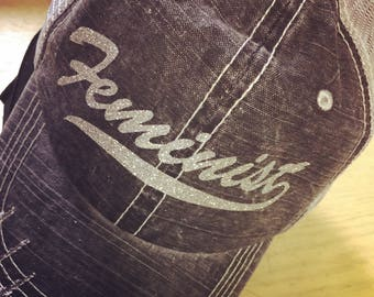Feminist-Distressed Trucker Hat-Silver Glitter-Custom Hat