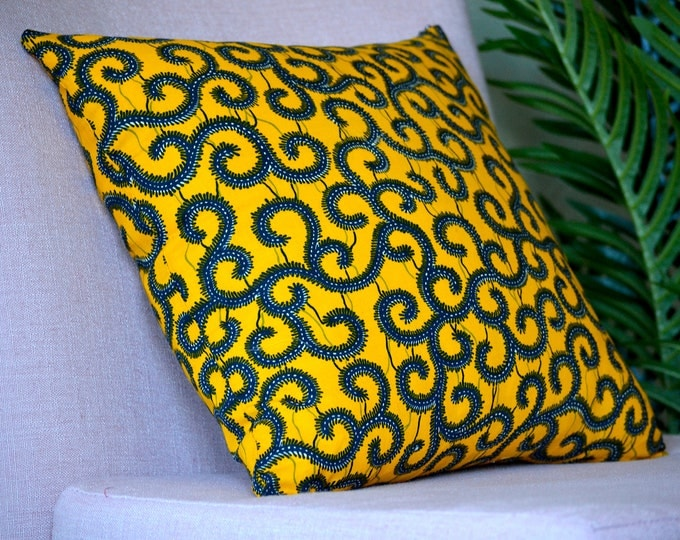 Yellow Spirals // Ankara Throw Pillow Cover