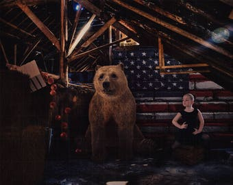 Brown Bear Digital Background - Barn and Flag - Patriotic - American Flag - Children Portrait - Grizzly Bear Photo - Instant Download - Prop