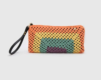 Handmade XL crochet clutch. Color block. Limited Edition