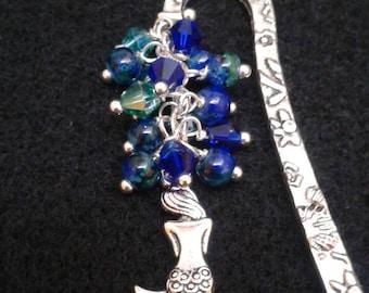 Mermaid glass/crystal bead bookmark