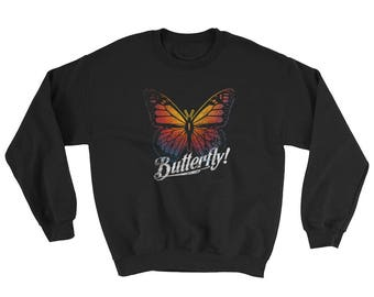 Butterfly Crew Neck Sweatshirt Sweater Colorful Print
