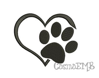 8 Size Paw with Heart Embroidery design Machine Embroidery - Digital INSTANT DOWNLOAD