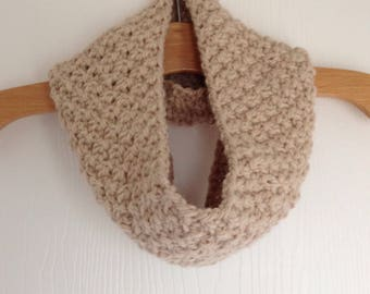 Hand Knitted Beige Chunky Cosy Cowl