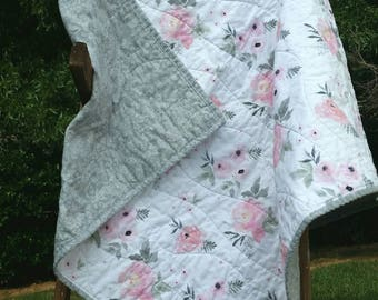 Floral and damask baby quilt | baby blanket | gift | baby shower | modern