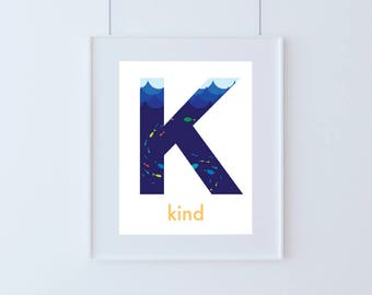 Letter K for Kind Kids Art Printable
