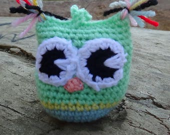 owl on a string, handmade, Knitted toys