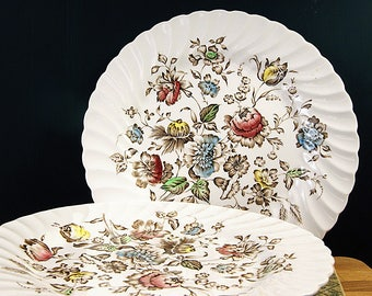 Set of Two Johnson Brothers Straffordshire Bouquet Ironstone Dinner Plates