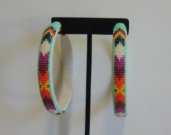2 3/4 Inch Beaded Hoop Earrings