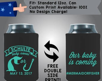 Name Baby Reveal Our Baby Is Coming #Mermaidorfisher Collapsible Neoprene Baby Shower Cooler Double Side Print (BS102)