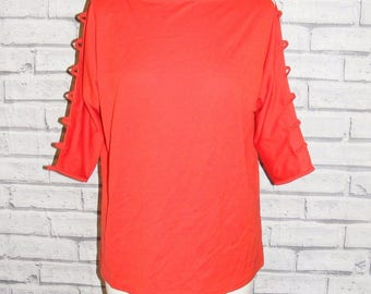 Size 16 vintage 80s cold shoulder/cutout batwing sleeve loose fit top red (HT89)