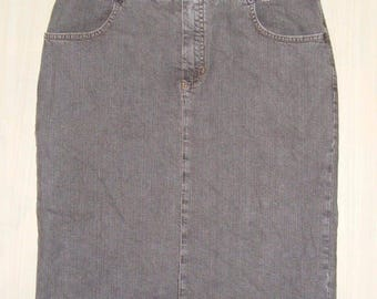Size 12 vintage 90s straight pencil knee length skirt brown stretch denim (HN65)