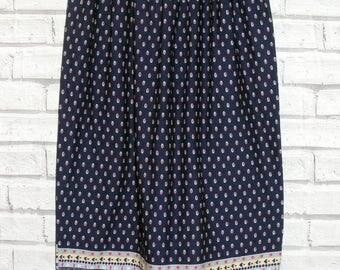 Size 6-8 vintage 80s high waist gathered maxi skirt crazy navy blue print (IC17)