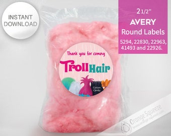 """Trolls Cotton Candy - 2 1/2"""" Round Labels Printables on AVERY - INSTANT DOWNLOAD, Stickers, Trolls Hair, Trolls Party, Trolls labels"""