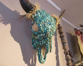Turquoise Cabochon covered Buffalo Skull w/ cornhusk decorations