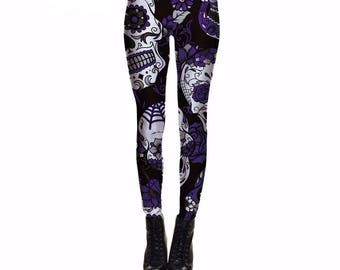 Purple and White Skull Leggings