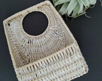 Vintage White Square Wicker Wall Basket