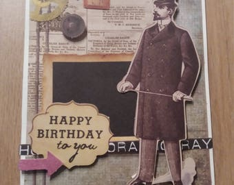 Card - Card vintage birthday - black & white photo - gentleman