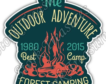 Outdoor Adventure Forest Camping Adventure Car Bumper Vinyl Sticker Decal