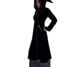 black & grey medieval pointy hood LONG COAT JACKET goth hippie emo alt pagan psy 10 12 14 16 18 20 22 24 26 28 30 32 34 36 plus size !