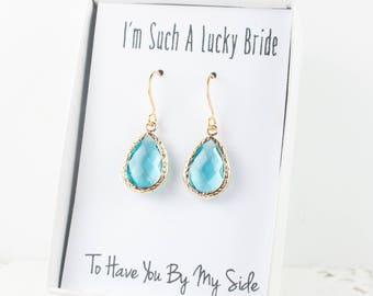 Aquamarine Gold Teardrop Earrings, Gold Aquamarine Earrings, March Birthstone Gold Earrings, Bridesmaid Jewelry, Blue Wedding Jewelry
