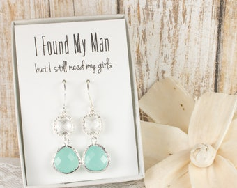 Long Mint and Clear Silver Earrings, Mint Green Crystal Silver Earrings, Bridesmaid Earrings, Green Wedding Jewelry, Bridesmaid Gift