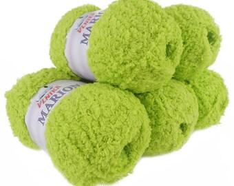 5 x 100 g soft Knitting yarn MARION with shimmering highlights, light green #105