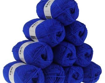 10 x 50g knitting Yarn eko fil, #006 Indigo