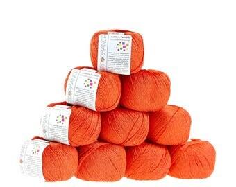 10 x 50 g knitting wool cotton twinkle, #198 orange