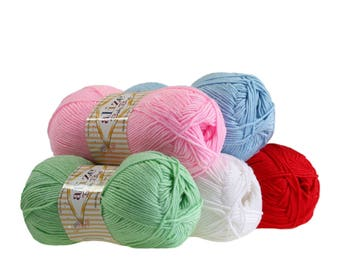 5 x 100 g yarn ALIZE baby best, anti-pilling, free choice of colors (color: Blue)