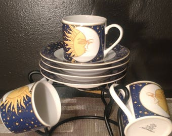 Vitromaster Galaxy Espresso Cups And Saucers With Holder