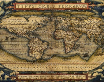 Vintage world map etsy vintage old world map ortelius 1570image download retro style designresource old map publicscrutiny Gallery