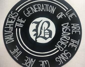 Hand Painted Vinyl Record w/Beartooth Lyrics