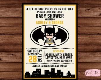 Batman baby shower invitation - Superhero Baby Shower Invitation - boy baby shower batman announcement -batman theme baby shower or sprinkle