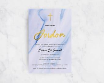 Modern Marble Christening Invitation | Christening Invites | Baptism Invitations | Boy
