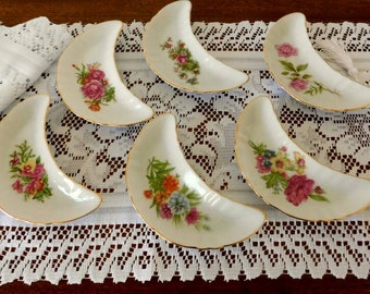 Fancy Floral Side Salad China  Dishes For Tea Party vintage 1950s SHIPPING INCLUDED