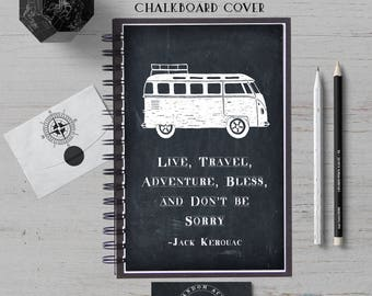 Travel Notebook, Jack Kerouac, Travel Journal, Adventure Journal, Bullet Journal, Travel Diary, Hardcover, Spiral Notebook, Lined Notebook