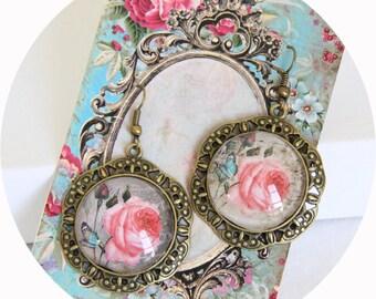 Earrings Rose Romantique rose and Butterfly stand bronze, pink and bronze earrings, rose pink round Stud Earrings