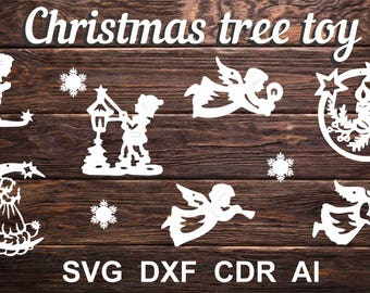 tree toy,decorations, wooden Christmas and paper laser cut CNC File Vector Art DXF CAD Silhouette Cameo Template souvenir shape model
