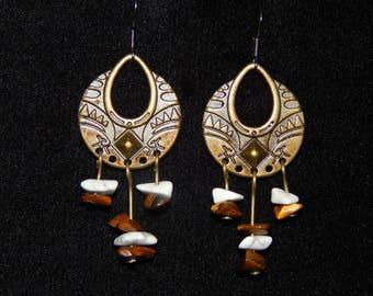 Earrings ethnic stone