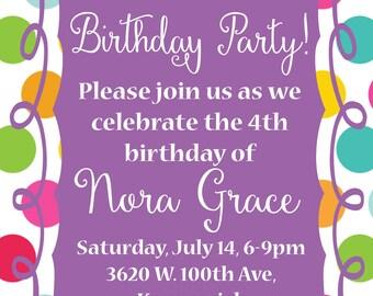 Polka dot birthday party invitation