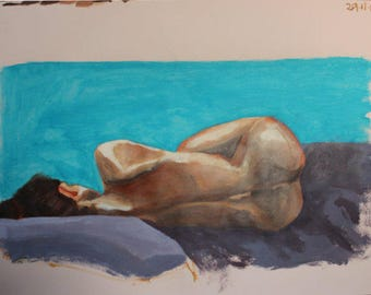 Woman sleeping, nude, blue, purple, female back, intimate, valentines, bedroom, original art, affordable art, decor, wall hanging, irish