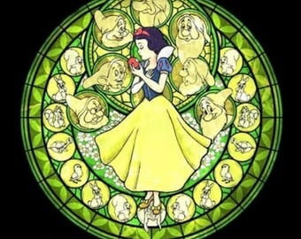 Snow white cross stitch digital Pattern medallion stained glass kingdom hearts