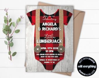 Lumberjack Baby Shower Invitation - Lumberjack Shower Invite - Lumberjack Invite - Lumberjack Baby Shower Invite - Boy Baby Shower