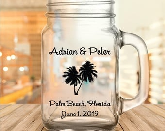 Custom Palm Tree Wedding Favor Mason Jars