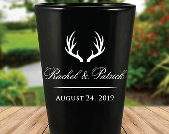 Custom Rustic Antlers Black Wedding Favor Shot Glasses