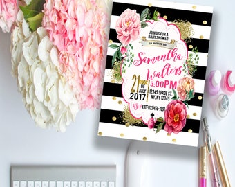 Digital Floral Spade and Stripes Party Invitation