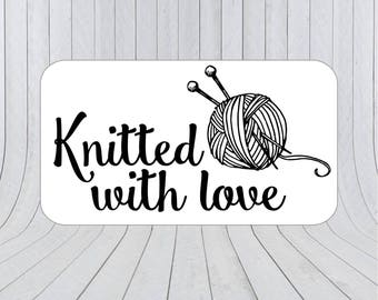 36 x Knitted with love stickers, Knitting stickers, Knitting Labels, Hand knit labels, Sewing Labels, Hand knit stickers 197