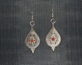 Silver Sterling Earring and Coral