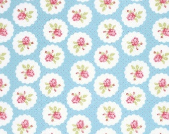 END OF BOLT - 5 Yards - Tanya Whelan - Lulu Roses - Lotti - Sky - Free Spirit - Shabby Chic Fabric - 100 % cotton , Quilting